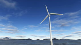Animated wind turbine in an ocean with blue sky. A 3D animation of a wind turbine rotating in an ocean with blue sky in the background. This clip is rendered in royalty free illustration