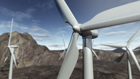 Animated wind turbines. 4K. A 3D animation of wind turbines rotating in a desert valley. A close up of an electric mill with more green energy generators at the royalty free illustration