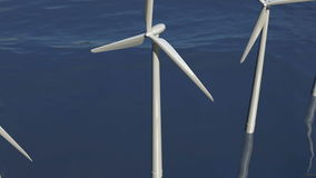 Animated wind turbines in an ocean windfarm stock video