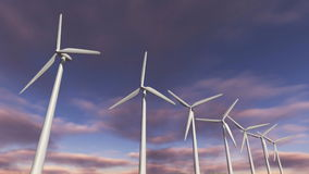 Animated wind turbines in a row. Loop-able 4K stock video footage