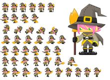 Animated Witch Character Sprites. Animated sprites for witch character for creating fantasy RPG adventure video games stock illustration