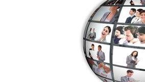 Animated world turning showing business people Stock Photography