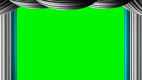 Animated zooming cyan white curtain on green screen chroma key for Awards Oscar movie review stage show entertainment drama based. Zooming cyan white curtain on stock illustration