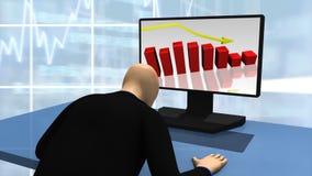 Animatie die 3d mens tonen die een Desktop bekijken vector illustratie