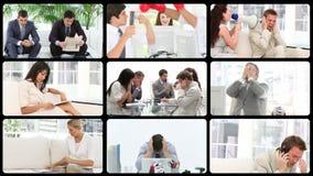 Animatie het voorstellen beklemtoont bedrijfsmensen op het werk stock footage