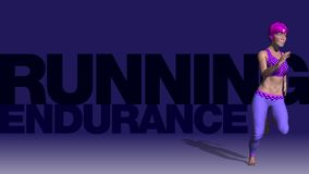 Animatie - Jonge vrouw die in de gymnastiek lopen - Sprint vector illustratie