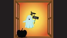 Animatie met een spook en een heks wordt gemaakt die royalty-vrije illustratie