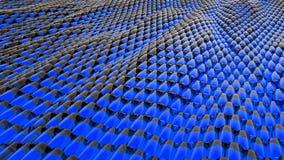 Animatie van abstracte golf blauwe metaalvloeistof met bezinningen het 3d teruggeven Stock Foto's