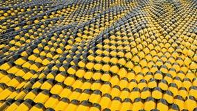 Animatie van abstracte golf gele metaalvloeistof met bezinningen het 3d teruggeven Stock Foto's