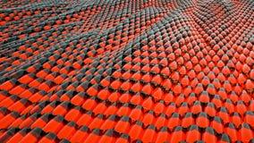 Animatie van abstracte golf rode metaalvloeistof met bezinningen het 3d teruggeven Stock Fotografie