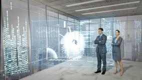 Animatie van bedrijfsmensen die technologie-interface bekijken stock videobeelden