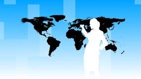 Animatie van Bedrijfsmensensilhouetten die in bureau werken stock illustratie
