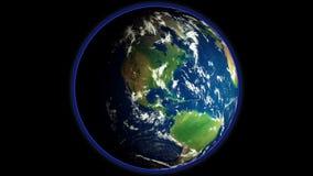 Animatie van de Aarde` s omwenteling in kosmische ruimte royalty-vrije illustratie