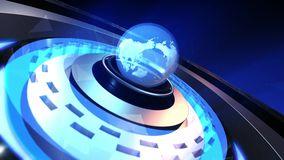 Animatie van de Aardebol die met vlecht rond deeltjes roteren vector illustratie