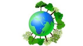 Animatie van de bol met bomen Een bericht voor de duurzaamheid van de planeet vector illustratie