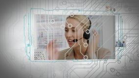 Animatie van de schermen met verschillende bedrijfssituaties stock videobeelden