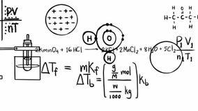 Animatie van de vergelijking van de chemietheorie en wiskundige formule van de band van de elementenmolecule met zich het chemisc stock videobeelden