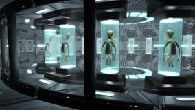 Animatie van een binnenland van een UFO met vreemdelingen Lijn-bekwame 4K royalty-vrije illustratie