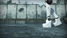 Animatie van een kunstmatige vrouw met robothond het 3d teruggeven royalty-vrije illustratie