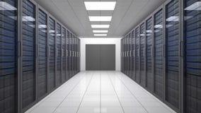Animatie van een reis door gegevenscentrum met servers