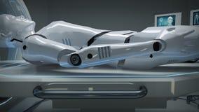 Animatie van een robot in een futuristische medische faciliteit vector illustratie