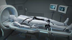 Animatie van een robot in een medische faciliteit vector illustratie