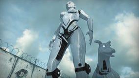 Animatie van een een robotvrouw en hond in apocalyptische stad het 3d teruggeven royalty-vrije illustratie