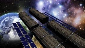 Animatie van een ruimtestation in kosmische ruimte stock illustratie