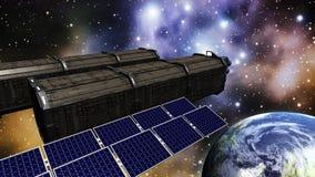 Animatie van een ruimtestation in ruimte stock illustratie