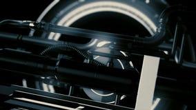 Animatie van futuristisch en high-tech mechanisme met licht en omwentelingsdetails met buizen, abstracte machineachtergrond stock foto