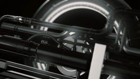 Animatie van futuristisch en high-tech mechanisme met licht en omwentelingsdetails met buizen, abstracte machineachtergrond stock afbeeldingen