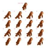 Animatie van gorilla het lopen Stock Foto