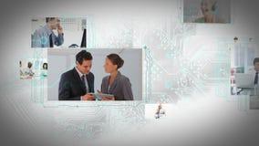 Animatie van het bewegen van de schermen met verschillende bedrijfssituaties stock videobeelden