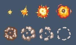 Animatie van het explosieeffect dat, in afzonderlijk wordt gebroken stock illustratie
