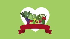 Animatie van het groenten de gezonde voedsel HD stock videobeelden