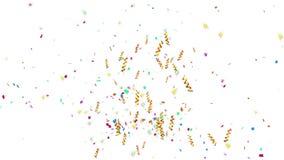Animatie van het schieten van kleurrijk confettiendocument, verdraaid lint, en elementendeeltje voor vakantiepartij en vieringsde