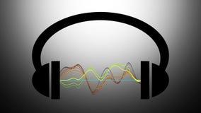 Animatie van hoofdtelefoons met grafische equaliser vector illustratie