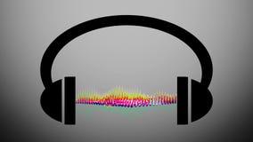 Animatie van hoofdtelefoons met grafische equaliser Muzieknota's die van hoofdtelefoons vliegen Animatiepictogram op hoofdtelefoo stock illustratie