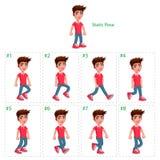 Animatie van jongen het lopen Stock Foto's