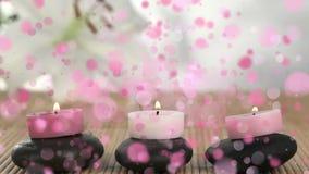 Animatie van kaarsen op kiezelstenen door roze bellen worden omringd die stock videobeelden