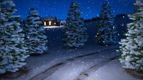 Animatie van magische de nachtscène van de de wintersneeuwval met sneeuwweide en plattelandshuisje 3d geef terug Naadloze lijn stock video
