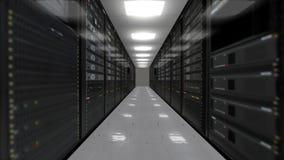 Animatie van rekservers in gegevenscentrum stock videobeelden