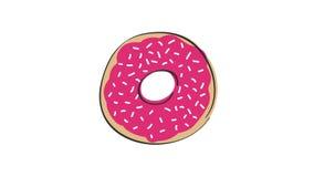 Animatie van roterende doughnut met roze aardbeibovenste laagje, geanimeerde hand getrokken beeldverhaalillustratie, bekwame lijn stock videobeelden