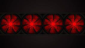 Animatie van roterende rode ventilators stock footage
