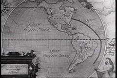 Animatie van route op wereldkaart die wordt gevonden stock videobeelden