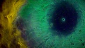 Animatie van ruimtevlucht door gele en groene nevel Vlieg door kosmische ruimtenevel en sterren stock afbeeldingen