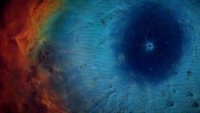 Animatie van ruimtevlucht door rode en blauwe nevel Vlieg door kosmische ruimtenevel en sterren stock foto