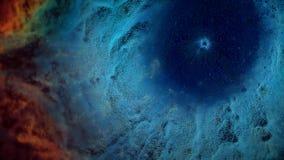 Animatie van ruimtevlucht door rode en blauwe nevel Vlieg door kosmische ruimtenevel en sterren royalty-vrije stock afbeeldingen