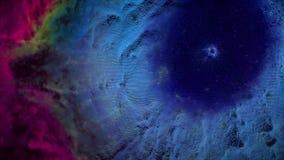 Animatie van ruimtevlucht door rode en blauwe nevel Vlieg door kosmische ruimtenevel en sterren stock afbeelding