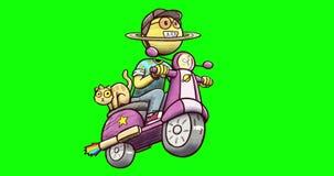 Animatie van Saturn-karakter drijfdieautoped - op groene chroma zeer belangrijke achtergrond wordt geïsoleerd royalty-vrije illustratie